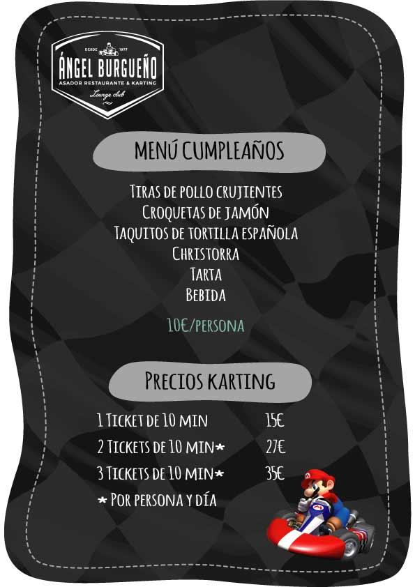 menu karts cumpleaños infantiles